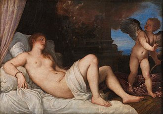 Danaë (Titian series) - Danaë, 1544-46. The original version in Naples, 120 cm × 172 cm. National Museum of Capodimonte