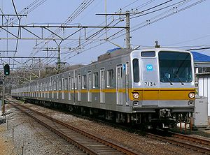 Tokyo Metro 7000 series - 7000 series set 7134 in original livery on the Seibu Ikebukuro Line, March 2008