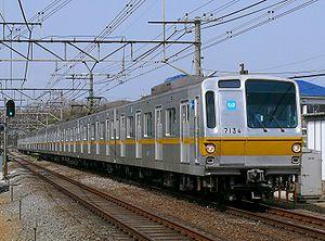 Tokyo Metro 7000 series - 7000 series set 7134 in original livery on the Seibu Ikebukuro Line, March 2008