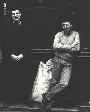 The 4-Skins - Hoxton Tom McCourt and Roi Pearce of The Last Resort, and later 4-Skins, outside the Bricklayers Arms, Shoreditch 1983.