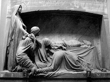 The Appiani family tomb, as seen in the Monumental Cemetery of Staglieno, Italy. Sculpted by Demetrio Paernio in 1910. A photograph of this tomb adorns the cover of Closer Tomba Famiglia Appiani (Cimitero di Staglieno).jpg