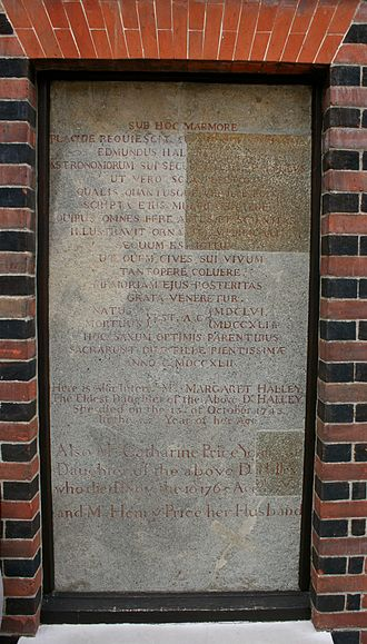 Edmond Halley - Edmond Halley's tombstone, re-positioned at the Royal Observatory, Greenwich; he is not buried there, but at St Margaret's, Lee, some 30 minutes' walk away