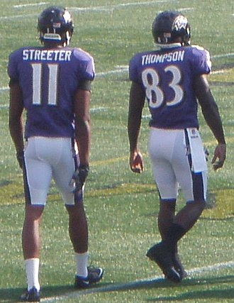 Deonte Thompson - Thompson (right) and Tommy Streeter at Navy–Marine Corps Memorial Stadium in 2012.