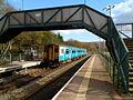 Train for Cardiff waits in Ystrad Rhondda railway station - geograph.org.uk - 2793454.jpg