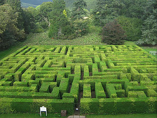 "outdoor garden maze or labyrinth in which the ""walls"" or dividers between passages are made of vertical hedges"