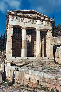 Building in Delphi, Greece