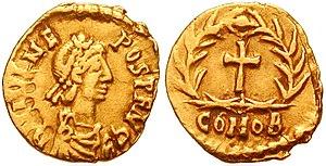 Romulus Augustulus - Julius Nepos on a gold Tremissis