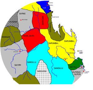 Darumbal - Map of traditional lands of Aboriginal people around Mackay, Rockhampton and Gladstone, Queensland.