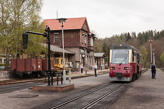 Selke Valley Railway - Alexisbad station with new railcar