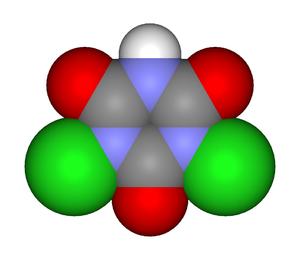 Dichloroisocyanuric acid - Image: Troclosene 3d