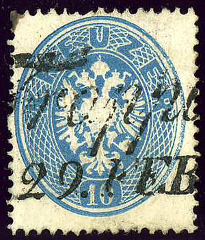 Opava - Austrian KK 10 kreuzer stamp issue 1863, cancelled Troppau