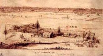 Cushing Eells - Tshimakain Mission, 1843, by Charles A. Geyer (1809–53)