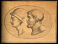 Two heads of ancient Greek soldiers. Drawing, c. 1793. Wellcome V0009295.jpg