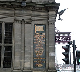 Tyne Tees Steam Shipping Company - Tyne-Tees Steam Shipping Company sign in King Street, on the side of what is now Sabatini's restaurant