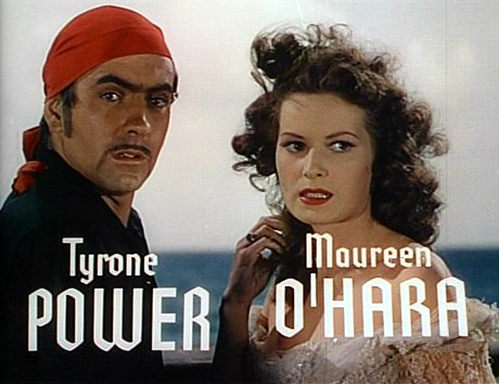 Tyrone Power and O'Hara in the trailer for The Black Swan, 1942 Tyrone Power Maureen O'Hara Black Swan 6.jpg