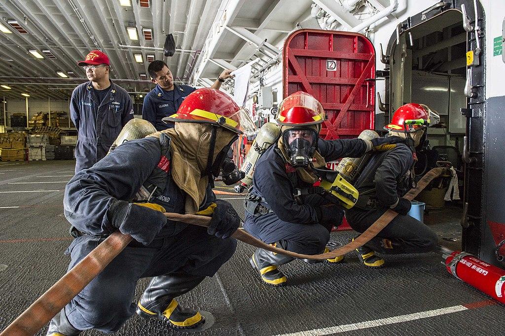 File U S Sailors Fight A Simulated Fire June 26 2014