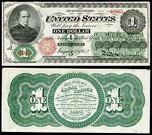 "Greenback (1860s money) - Image of one dollar ""Greenback"", first issued in 1862"