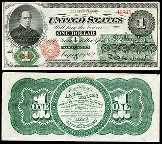 Salmon P. Chase - The first issue of $1 notes in 1862 as legal tender, featuring Chase