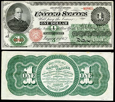 First $1 bill issued in 1862 as a Legal Tender Note US-$1-LT-1862-Fr-16c.jpg