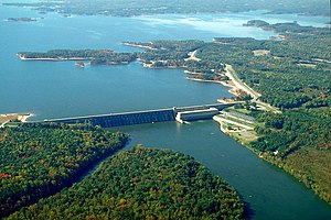 English: The John H. Kerr Dam and Lake on the ...