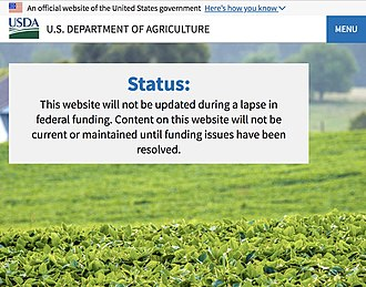 2018–19 United States federal government shutdown - USDA's website during the shutdown as of January 13, 2019