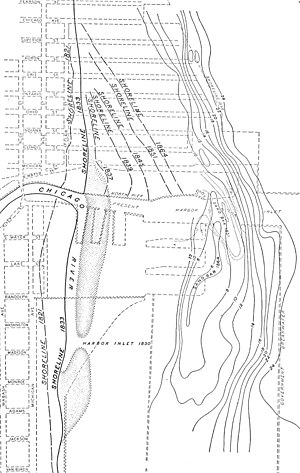 Streeterville - Map of the shoreline of Lake Michigan at the mouth of the Chicago River at intervals from 1821 to 1902