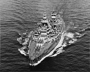 Wyoming-class battleship - Arkansas in her 1944 configuration, with tripod foremast