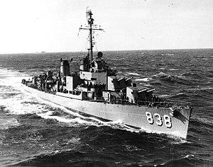 USS Ernest G. Small (DD-838) underway off Korea on 17 November 1950 (80-G-423466)