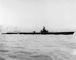USS Trepang (SS-412) underway off Mare Island Naval Shipyard, California (USA), on 12 July 1944.jpg