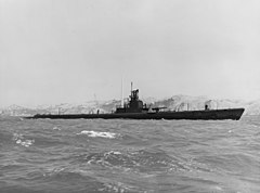 USS Wahoo (SS-238) off the Mare Island Naval Shipyard, California (USA), on 14 July 1943 (19-N-48937)