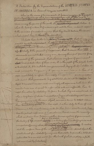 Physical history of the United States Declaration of Independence - The first page of Jefferson's rough draft.
