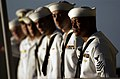 US Navy 050122-N-0696M-044 Sailors man the rails as the Nimitz-class aircraft carrier USS Ronald Reagan (CVN 76) pulls into Naval Station Pearl Harbor, Hawaii.jpg