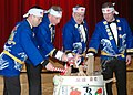 US Navy 070127-N-3019M-004 Members of the official party perform a Japanese traditional breaking of the taru, or sake container, during the 212th Supply Corps Ball at Fleet Activities Sasebo.jpg