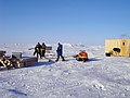 US Navy 070303-N-7179R-001 Steve Haze, Travis Major and Electrician's Mate 3rd Class Robert Baker begin construction on the Applied Physics Ice Station (APLIS).jpg