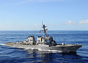 US Navy 080906-N-1082Z-142 The guided-missile destroyer USS Ramage (DDG 61) transits the Atlantic Ocean