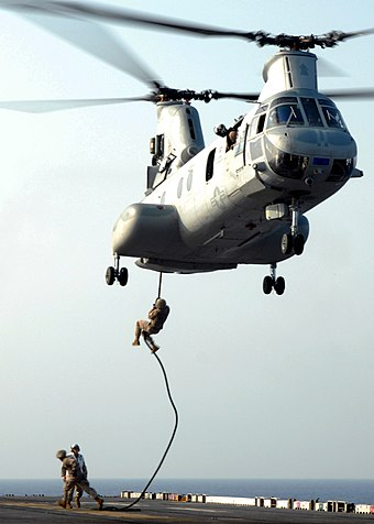 US Marines fast-roping from a Sea Knight--the same insertion technique used by the SAS at Gberi Bana US Navy 080925-N-2074H-085 Marines practice fast-rope techniques.jpg
