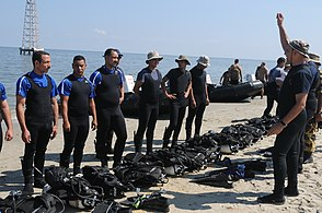 US Navy 091011-N-0260R-059 Sailors from Egyptian navy frogman units conduct pre-dive checks during a training exercise with U.S. Navy explosive ordnance disposal personnel.jpg