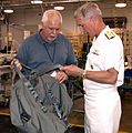 US Navy 100504-N-8497H-058 Rear Adm. Tim Alexander and Charles Roden inspect a new bag during a tour of Alabama Industries for the Blind.jpg