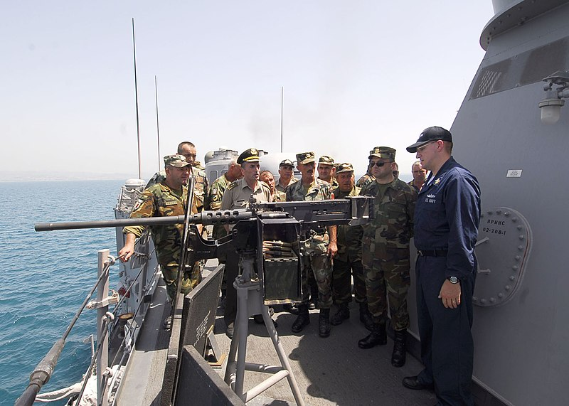 File:US Navy 100617-N-7638K-172 Electronics Technician Elijah Merchant, from Jacksonville, Fla., gives a tour of the guided-missile frigate USS Taylor (FFG 50) to members of the Albanian Armed Forces Non-Commissioned Officers Academ.jpg