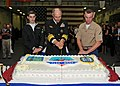 US Navy 101011-N-7282P-502 Sailors cut the cake at a U.S. 3rd Fleet reception aboard the amphibious assault ship USS Makin Island (LHD 8).jpg