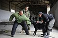 US Navy 101117-N-8546L-899 U.S. Navy Chief Master-at-Arms Nick Estrada, second from left, a military working dog handler from Orange, Calif.jpg