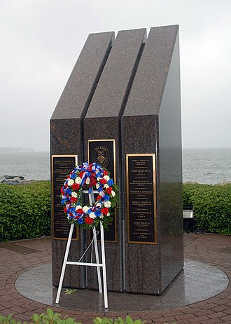USS Cole bombing - A wreath laid by the crew of USS Cole at the Norfolk Naval Station memorial, Oct. 12, 2001.