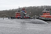 US Navy 111215-N-UM744-002 The Los Angeles-class attack submarine USS Miami (SSN 755) returns home to Submarine Base New London