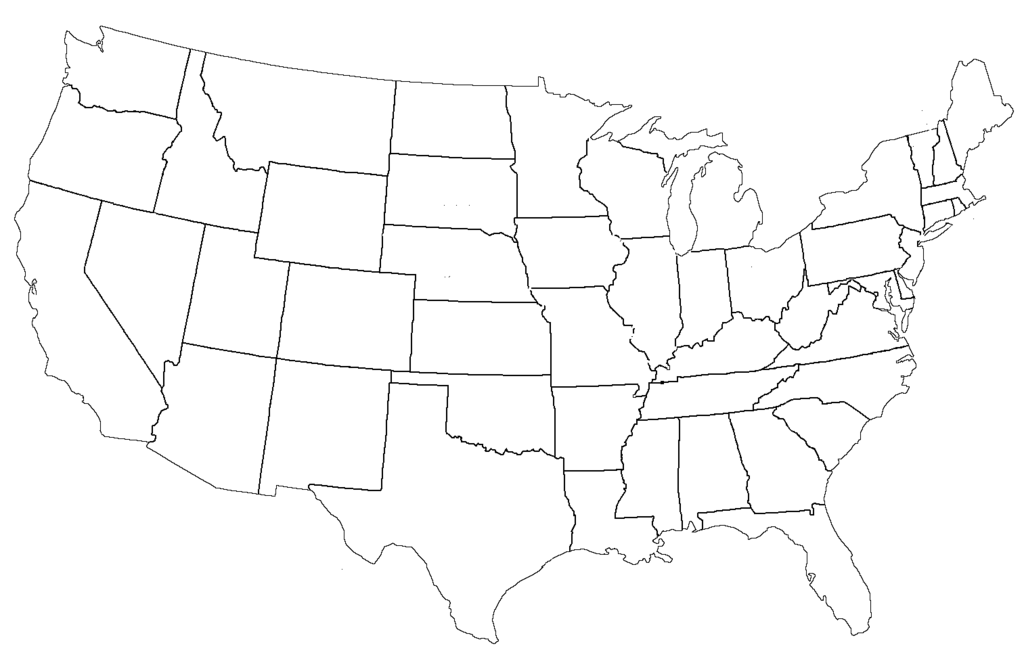 Blank Page Of United States Map Blank Calendars Blank Map Us