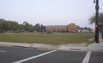 "Gainesville, Florida - University Corners, viewed from the main entrance to the University of Florida, February 2012. This is now the site of the apartment complex ""The Standard"", which opened in 2017."