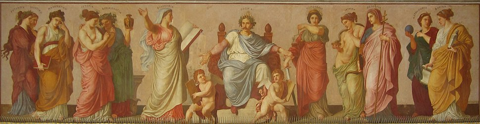 Center facade fresco, showing king Othon with personifications for different sciences. National and Kapodistrian University of Athens.