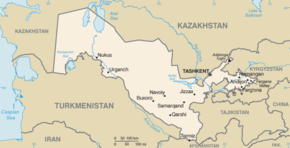 Kart over Republikken Usbekistan