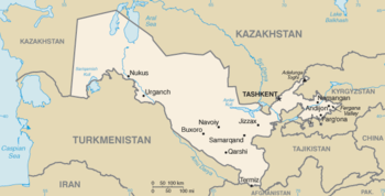 English: Map of Uzbekistan