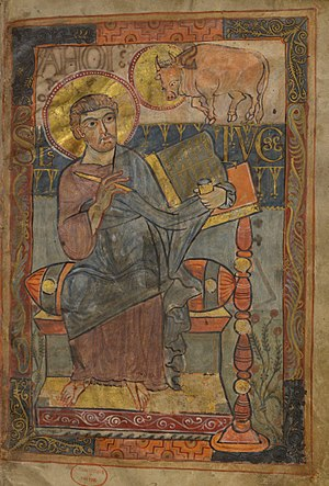 Godescalc Evangelistary -  Illumination of St. Luke with his symbol, the ox. He is one of the four Evangelists featured in the Godescalc Evangelistary.