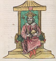Vencel király a trónon (Thuróczi-krónika)